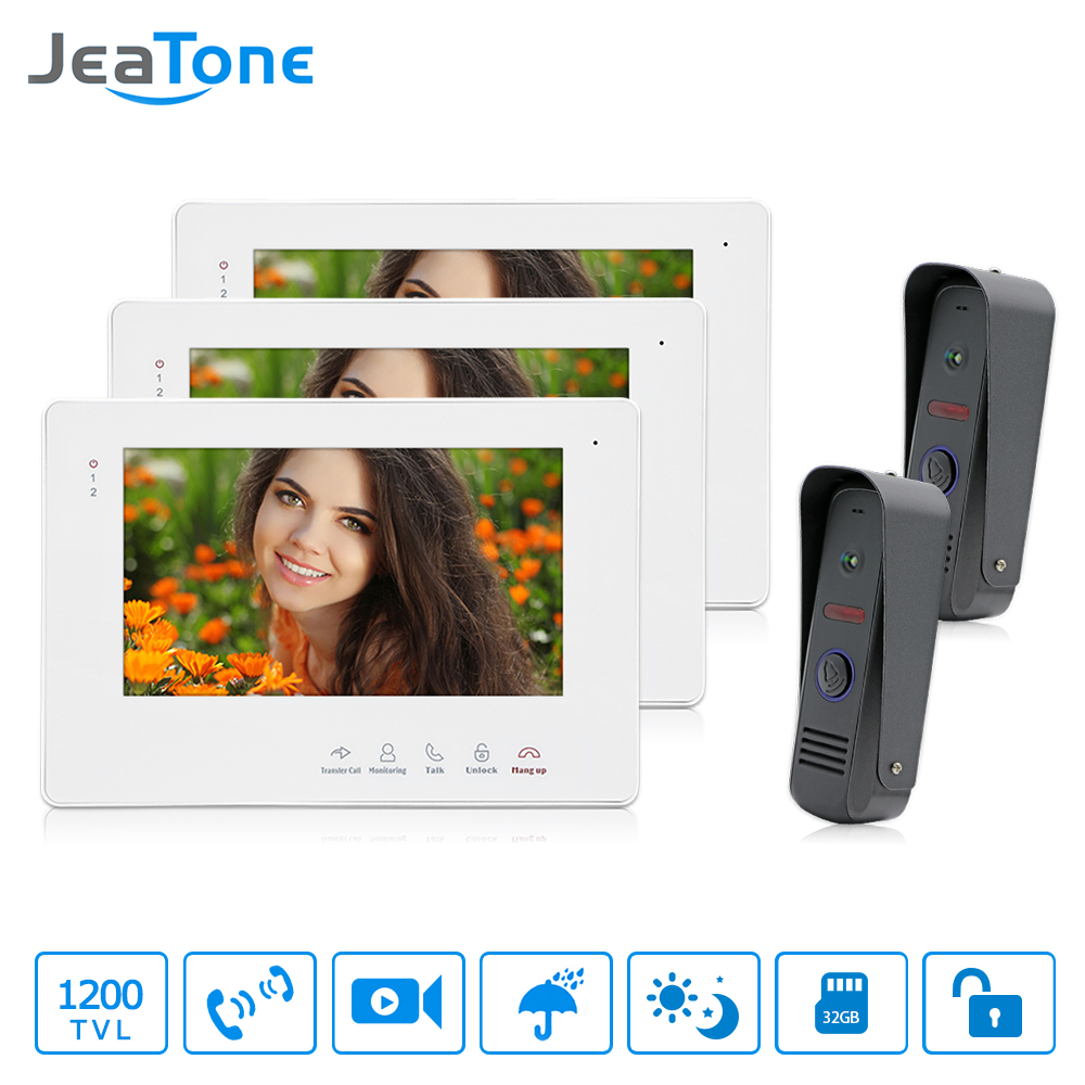 JeaTone Brand New 7 TFT Color Video door phone Intercom Doorbell System Kit IR Camera Touch Monitor Speakerphone Intercom Unit brand new wired 7 inch color video door phone intercom doorbell system 1 monitor 1 waterproof outdoor camera in stock free ship