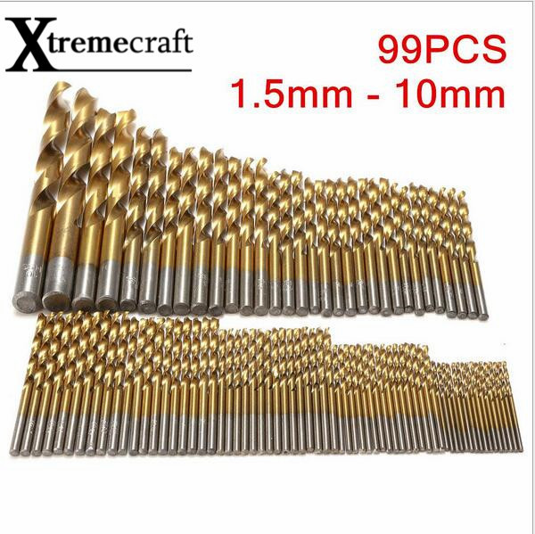 99pcs/Set Twist Drill Bit Set Saw Set HSS High Steel Titanium Coated Drill Woodworkin Tool 1.5-10mm For Cordless Screwdriver 50pcs set twist drill bit set saw set 1 1 5 2 2 5 3mm hss high steel titanium coated woodworking wood tool drilling for metal