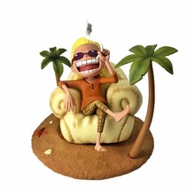 цена на 14cm Japanese anime figure one piece holiday beach seating Donquixote Doflamingo action figure collectible model toys for boys