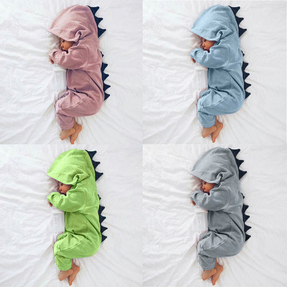 3D Dinosaur Costume Solid Pink Gray Rompers Warm Spring Autumn Cotton 2018 Spring Rompers Newborn Cotton Tracksuit(China)
