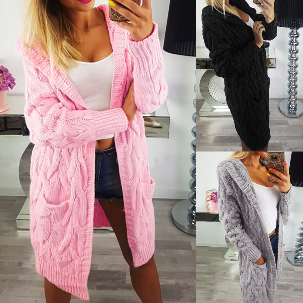 2018 women long sleeve oversized loose knitted  made of high quality materials sweater cardigan outwear coat #25