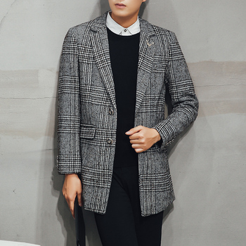 Autumn Winter Men Long Wool Coat Classic stripe Plaid Woolen Blends Overcoat Single Business Boutique  Man Trench Coats Jacket