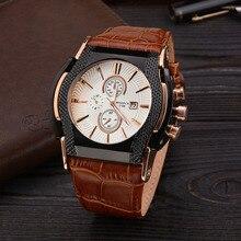Uhren Datum Tag männer Military Watch Lederarmband Männer Sportuhren Quarz Luxusmarke Armbanduhr Männlich Relogio