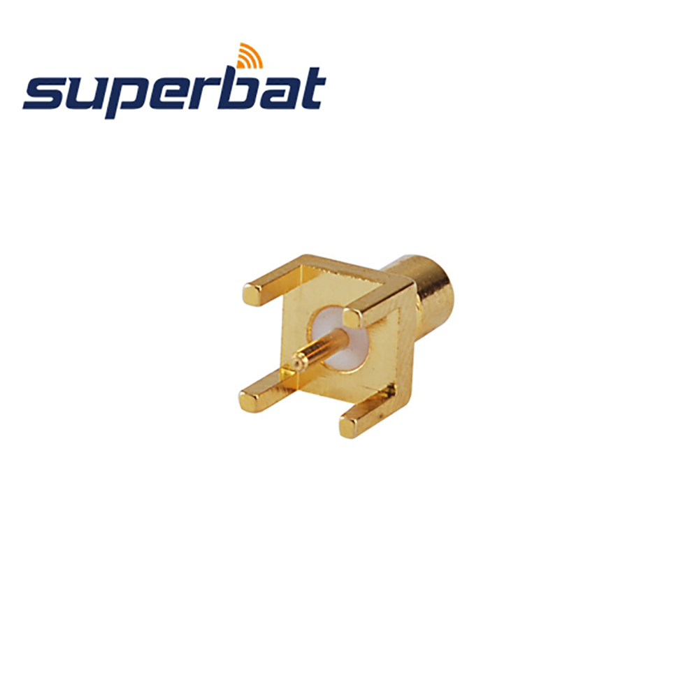 Superbat 10pcs RF Coaxial Connector SMB Thru Hole Jack Female PCB Mount With Solder Post Terminal