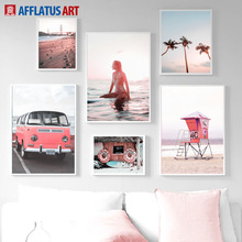 Pink Bus Girl Sea Beach Sky Coconut Tree Wall Art Canvas Painting Nordic Posters And Prints Pictures For Living Room Decor