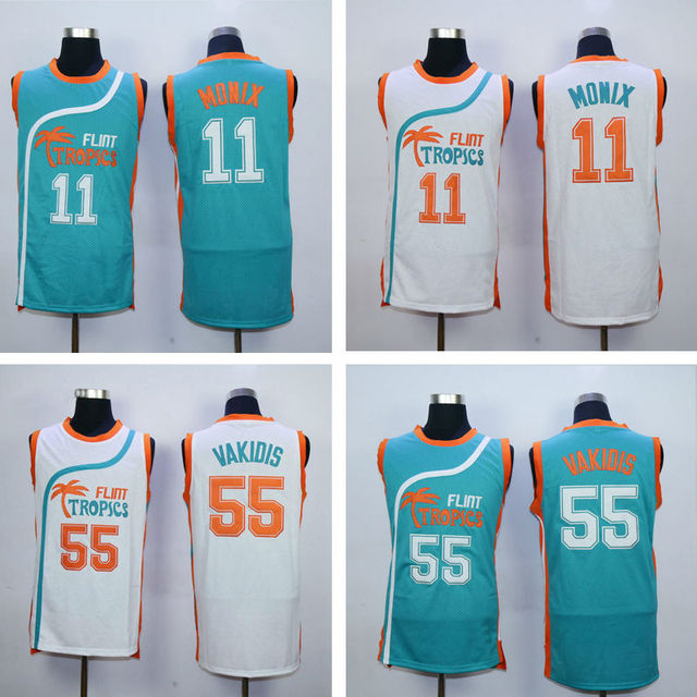 New Flint Tropics Semi Pro Movie Basketball Jersey 11 ED Monix 55 Vakidis  Stitched Shirts Green White S-2XL Name Customize 12e6bd4e6