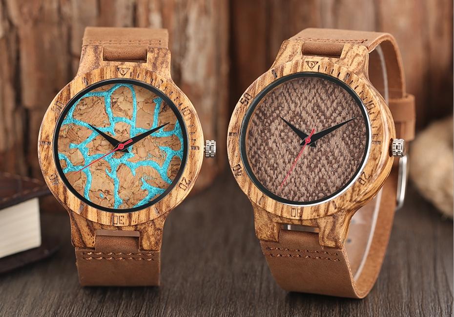 Unique Stripes Lines Dial Wooden Watch Mens Bamboo Creative Quartz Clock Genuine Leather Bangle Reloj de madera 2017 New Fashion  (46)