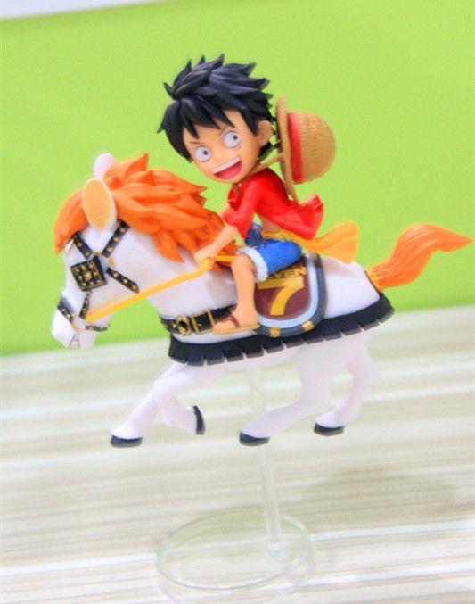 12CM pvc Japanese anime figure ONE PIECE Monkey D. Luffy riding horse chrismas action figure collectible model toys for boy