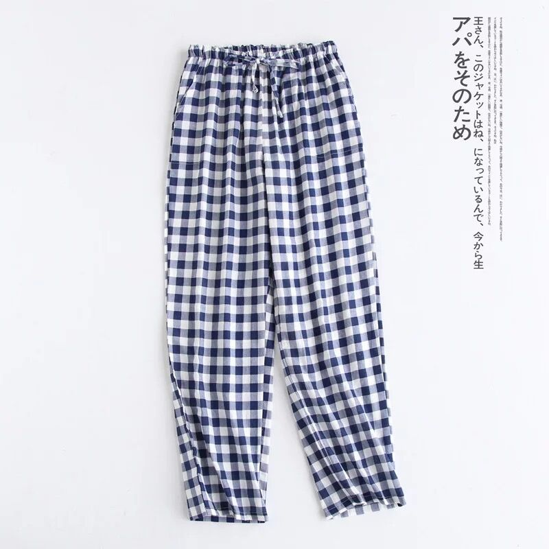 Spring Couples Cotton Gauze Sleep Pants Ladies Home Tie Pajama Pant Men's Bottom Pants Sleeping Pants Woman Pajama Bottoms
