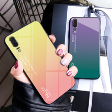 For Huawei P20 Case Tempered Glass for Gradient Color Back Cover Soft Bumper P 20 Capa