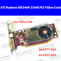 High quality For DELL/HP 462477-001/461902-001 ATI HD2400 64bit 256M high profile bracket PCI-E video card with DMS59 cable