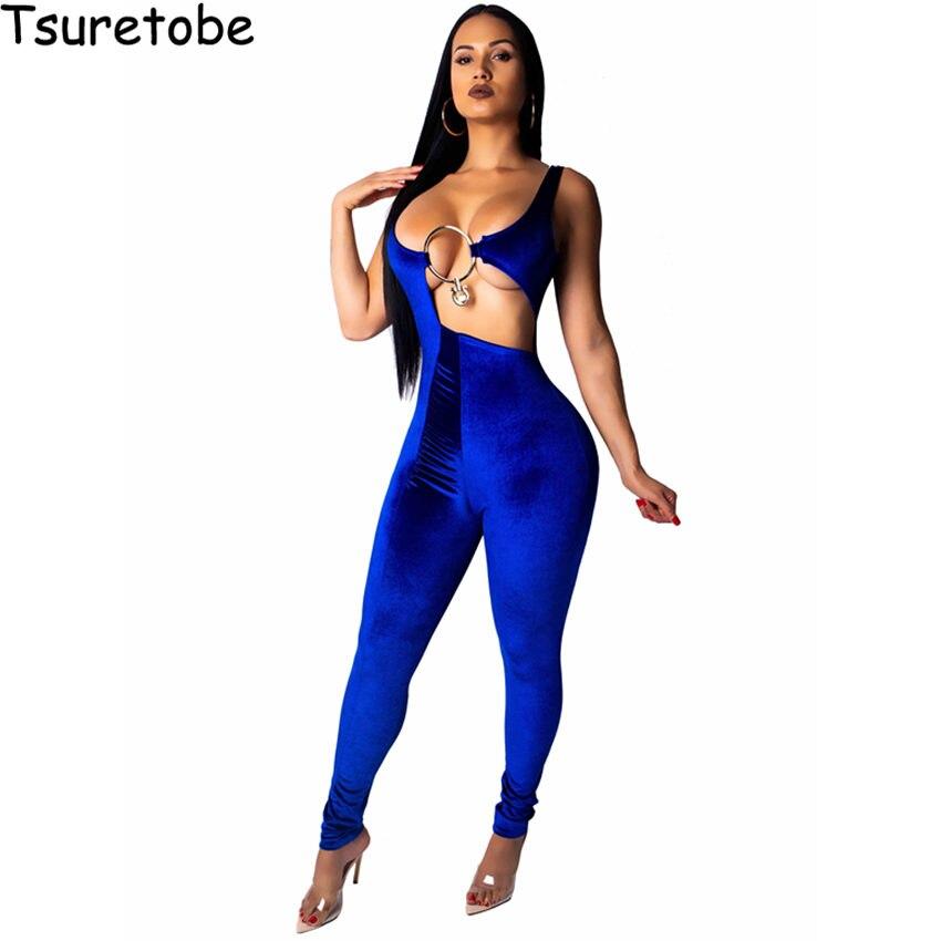 Women's Clothing Tsuretobe Velvet Sexy Jumpsuit Women Fashion Off Shoulder Elegant Jumpsuit Female Rompers Sleeveless Hollow Out Bodycon Jumpsuit