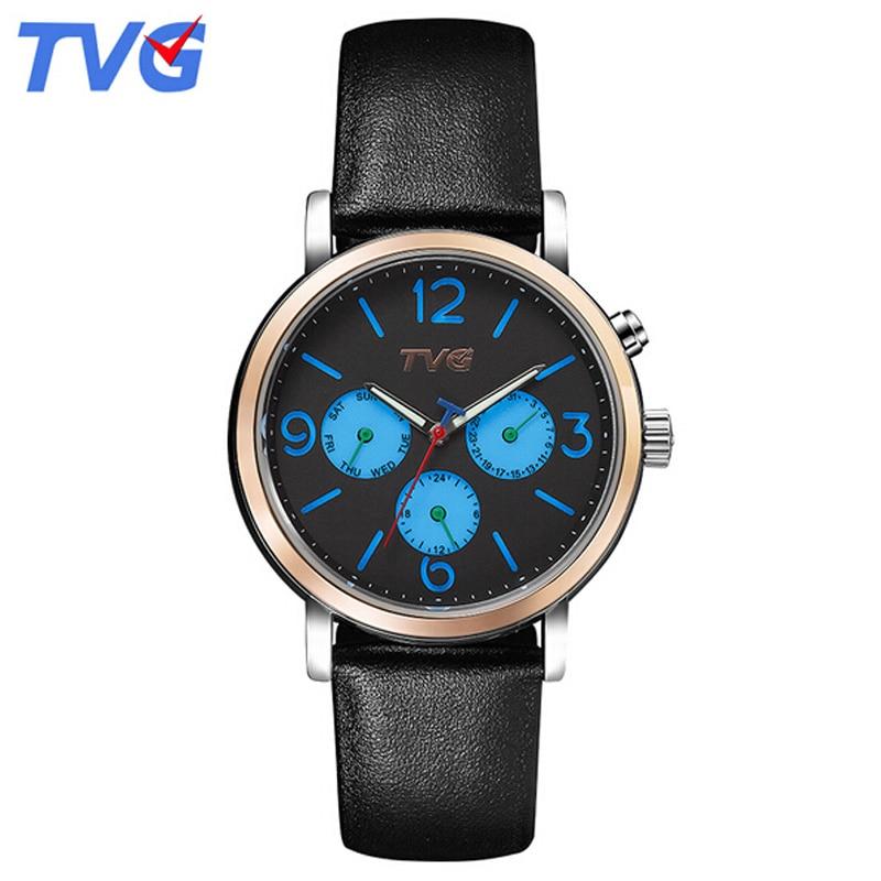 TVG Quartz-Watches Men Luxury Casual Waterproof Analog Quartz Wristwatch Sports Genuine Leather Starp Watch Heren Horloge