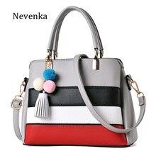 Nevenka Marke Frauen Pu-leder Handtasche Dame Bunte Gestreifte Tasche Quaste Lässig Tote Mode Weiche Messenger Bags Neue Design Sac