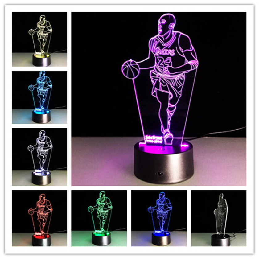 NBA star 7 Color Lamp 3D Visual Led Night Lights for Kids Touch USB Table Lampara Lampe Baby 3D Acrylic Sleeping Nightlight loft garden pendant lamps  bamboo