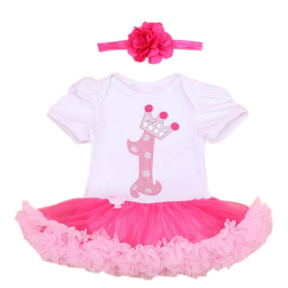 ⑦Bebé Niñas 2 unids por juego infantil 1st cumpleaños blanco rosa ...