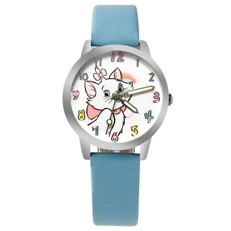 Sky Blue Kids Watch Cute Cartoon Bow Kitten Girl Clock Quartz Sports Boy Watch Kids Fashion Bracelet Wrist Watch Clock Relogio