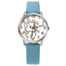 Sky Blue Kids Watch Cute Cartoon Bow Kitten Girl Clock Quart