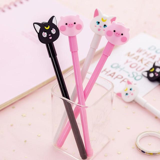 Dessin animé chat cochon Gel stylo Animal mignon 0.38mm encre noire Signature stylo Escolar école bureau écriture fournitures