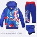 Otoño patrón niños sudadera con capucha y pantalones set EE. UU. héroe Capitán América de impresión, además de terciopelo niños niñas set 2-7años niños sudadera con capucha