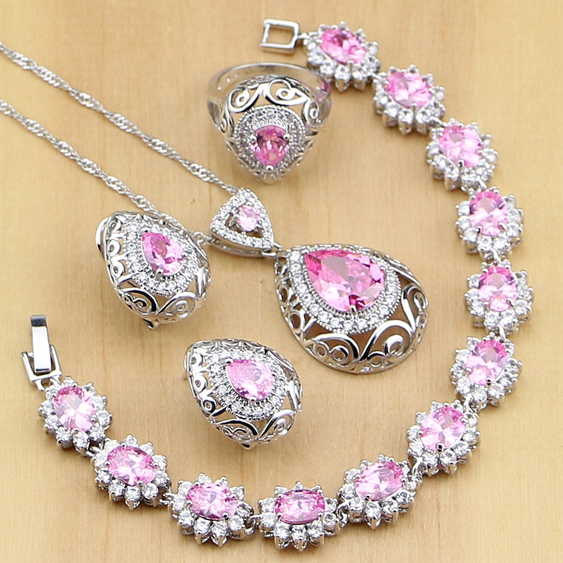 Punk Pink CZ Princess 925 Sterling Silver Jewelry Sets For Women Drop Earrings Pendant Ring Bracelet Necklace Set