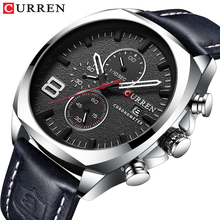 CURREN Hot Sale Sport Men Watch Date Display Silver Black 3 Dial Analog Wristwatch Clock Leather Strap Quartz Waterproof Watches