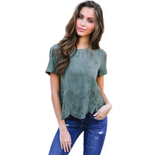 d2b2885d77 Faux suede leather crop tops Hollow out o neck wave side t shirt Women  casual short