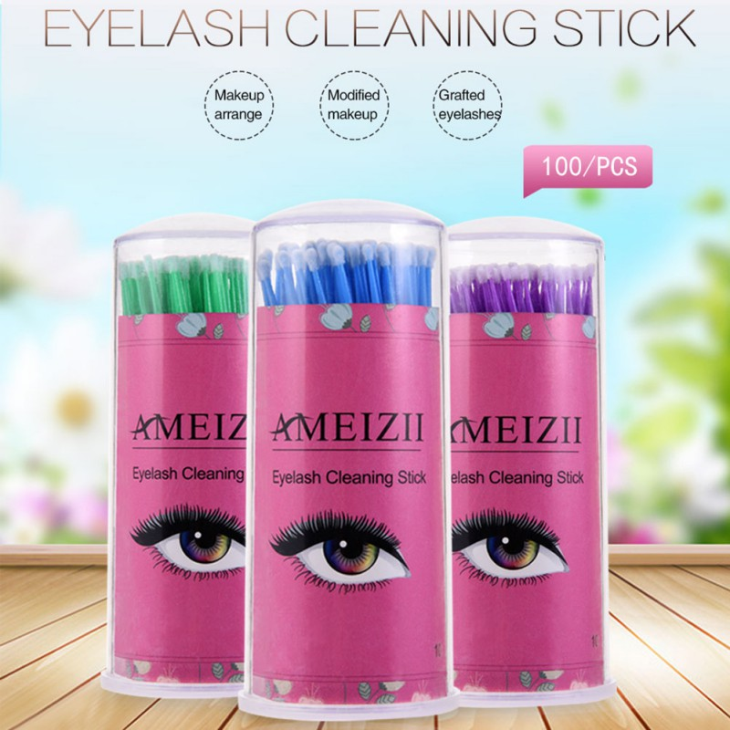 100Pcs Disposable Eyelash Makeup Brushes Cosmetic Eyelash Extension Tools Individual Lash Removing Makeup Tools Q-tips With Box