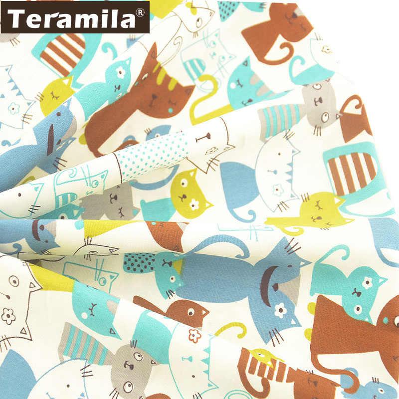 Teramila szary i niebieski koty styl Patchwrok Tela Algodon diy materiał do szycia 100% tkanina bawełniana białe tkaniny miernik Twill Tecido