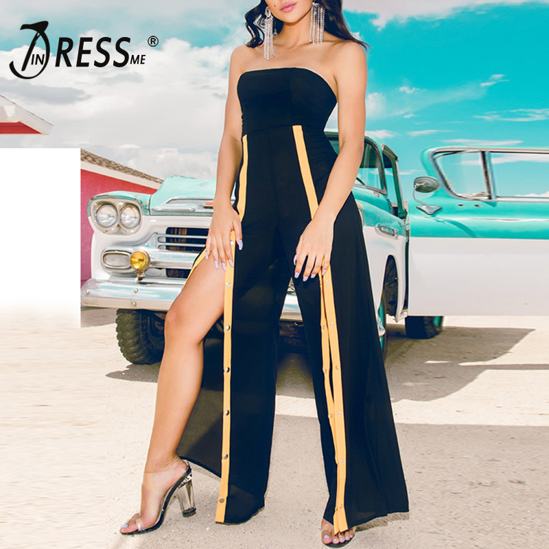 INDRESSME Women Celebrity Runway   Jumpsuits   Strapless Elegant Rivet Button   Jumpsuit   Sexy Bodycon Jag Bodysuit 2018 Fashion