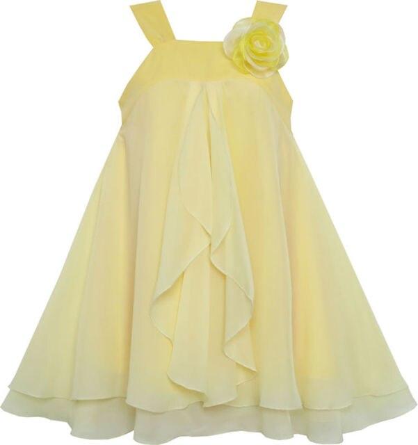 Sunny Fashion Girls Dress Sleeveless Halter Flower Multi Layer Chiffon 2016 Summer Princess Wedding Party Dresses Size 4-14