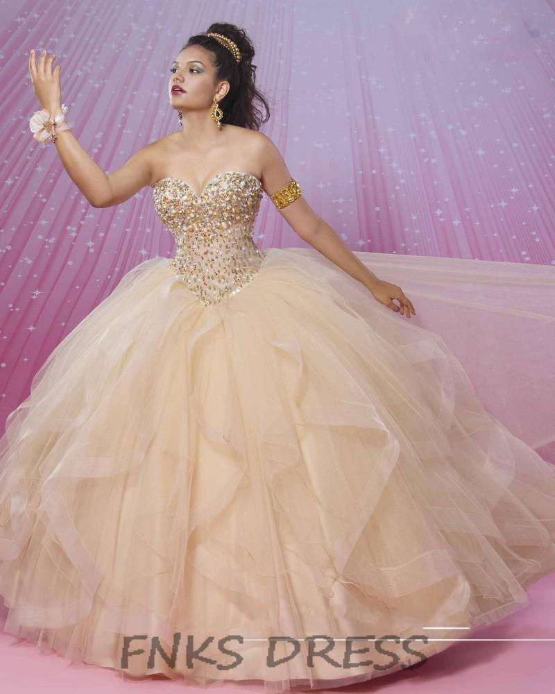 Champagne Ball Gown Quinceanera Dresses vestidos de 15 Sweetheart ... b304a74f3389