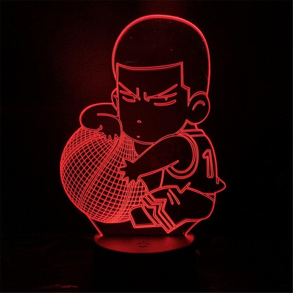 Lampa Slam Dunk rysunek Hanamichi Sakuragi Anime Lampa dekoracji domu lampy stołowe 3D noc światła 7 zmiana koloru dla dzieci lalka prezentowa