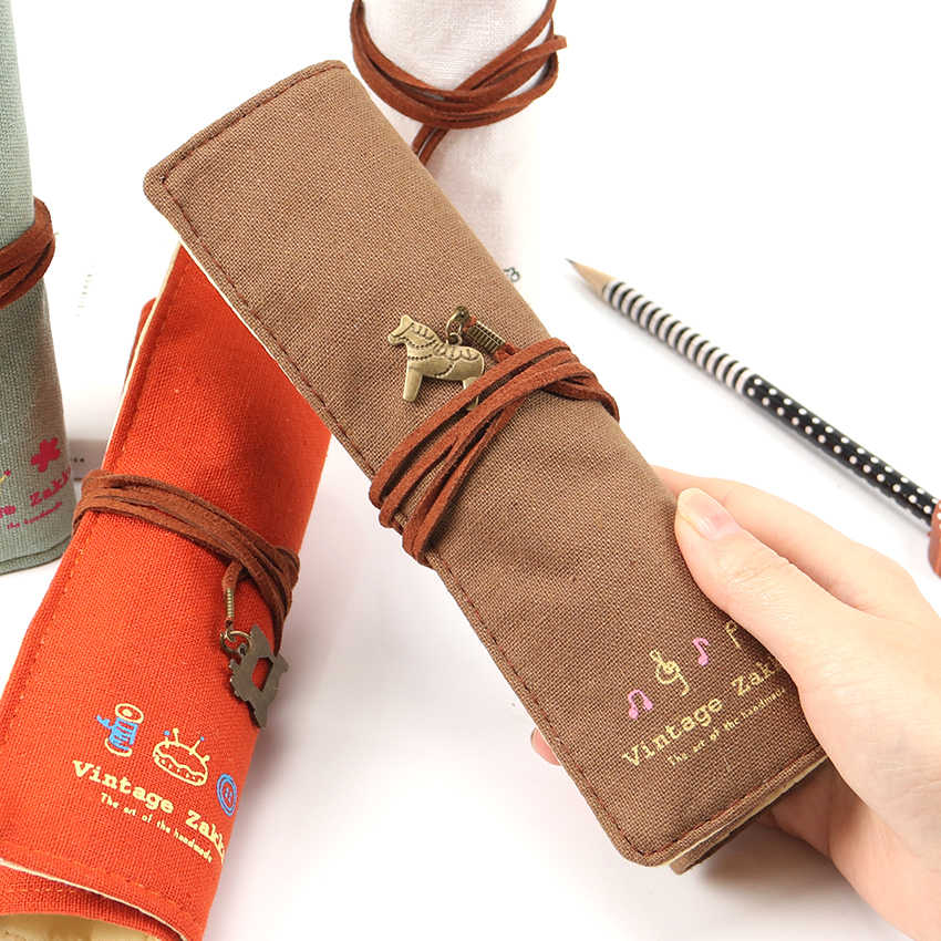 1PC bastante lindo gran venta bolsa de lona soporte rollo de papelería bolsa de lápices suministros de papelería