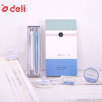 Deli 7pcs stationery set student writing gel pen pencil notebook eraser correction tape two rolls of washi tape learning kits
