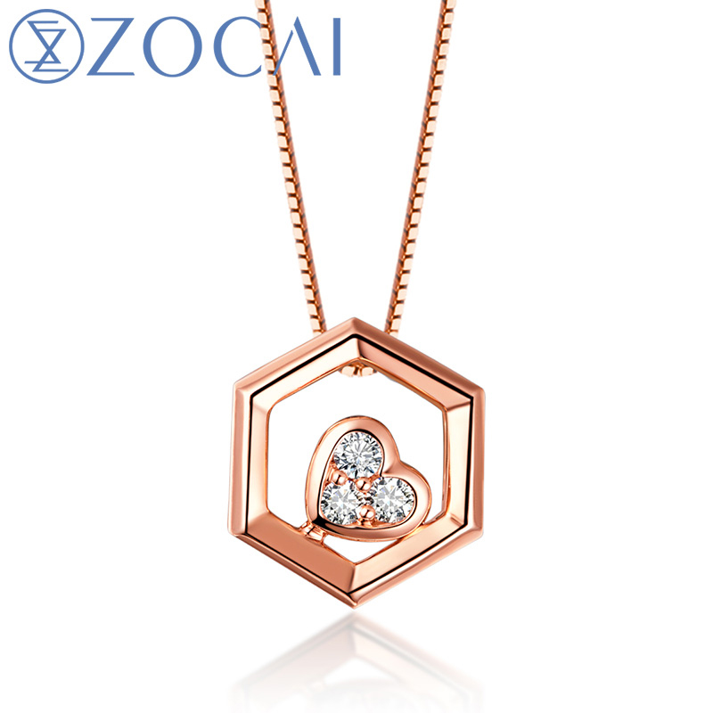 choker 2017 New Arrival The Honeycomb Series Real 0.03 CT Diamond 18K Rose Gold (Au750) Pendent Necklace JBD90229T