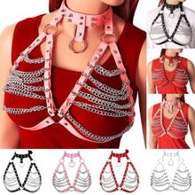 Metalen Ketting Roze Lederen Harnas Borst Riem Body Cage Punk Goth Hollow Out Vrouwen Clubs Kleding Dance Sexy Lingerie Plus size(China)