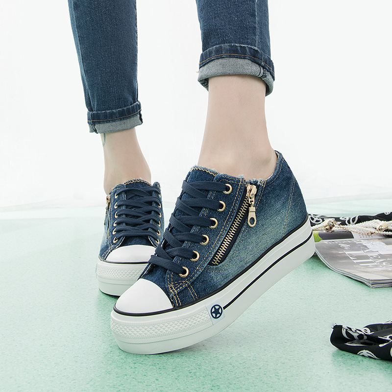 Denim Canvas Shoes Women 2017 Spring Autumn 6cm Hight Increased Thick Soled Leisure Elevator Shoes Female Side Zippers Creepers e toy word canvas shoes women han edition 2017 spring cowboy increased thick soles casual shoes female side zip jeans blue 35 40