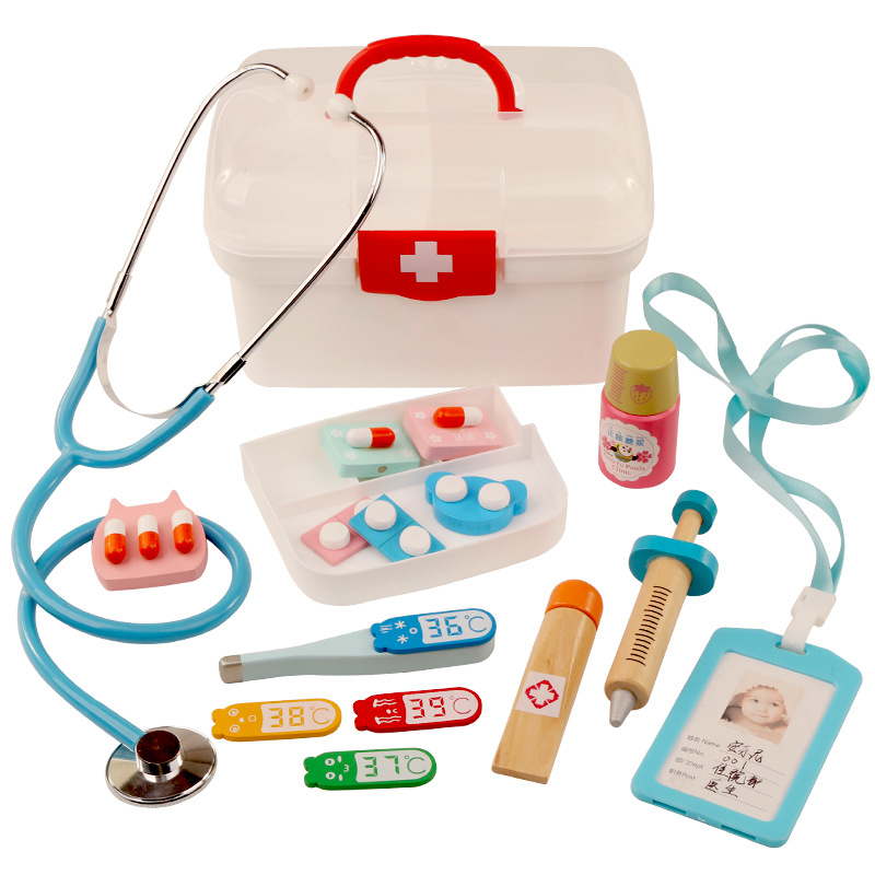 13Pcs Doctor Medical Toys Dentist Toy Kids Wooden Medical Kit Simulation Medicine Chest Doctor Nurses Set for Kids Gift