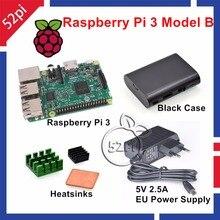 Raspberry Pi 3 Starter Kit avec Raspberry Pi 3 Modèle B + 5 V 2.5A UE/ÉTATS-UNIS/ROYAUME-UNI/UA Alimentation + Dissipateurs + ABS Noir cas