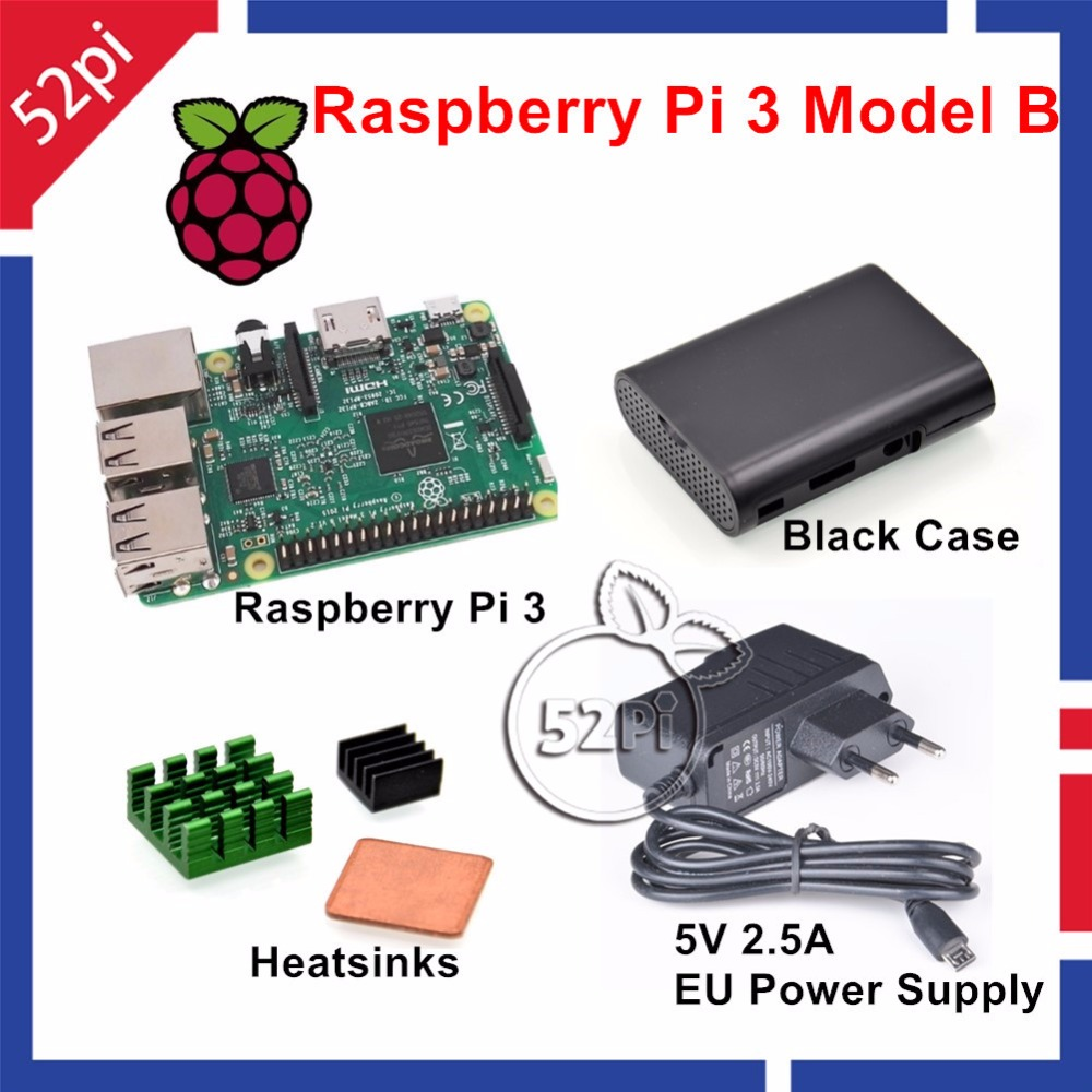 52Pi Raspberry Pi 3 Starter Kit with Raspberry Pi 3 Model B + 5V 2.5A EU/US/UK/AU Power Supply + Heatsinks + ABS Black Case