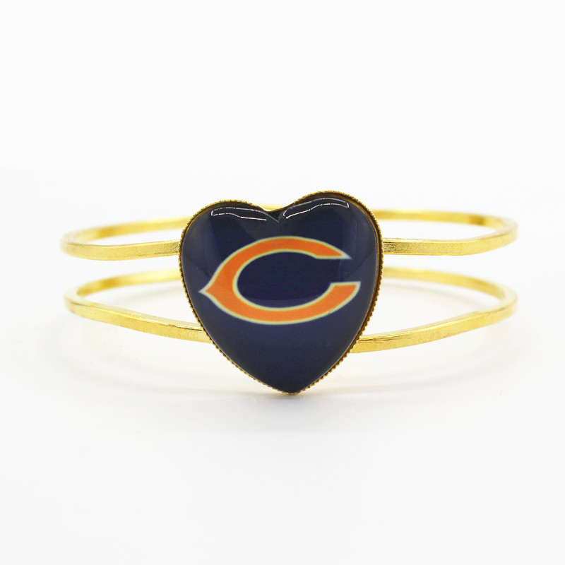 Лидер продаж, 6 шт./лот сердце сплава браслет Chicago Bears Футбол Спортивная команда Подвески ювелирные браслеты для мужчин женщина