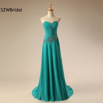New Arrival Chiffon Green Evening gown 2020 Lace Beaded Long evening dress Plus size Formal dress for graduation