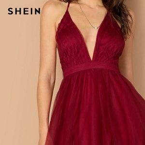 Image 4 - SHEIN bourgogne col plongeant entrecroisé dos Cami robe Maxi plaine Sexy nuit Out robe automne moderne dame femmes robes de fête