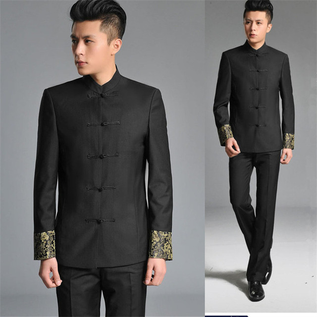a2406f673 new embroidery Chinese tunic suit men's suits Slim young adults graduate  student performing arts groups dance