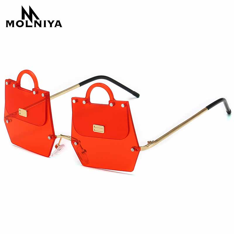 MOLNIYA Metal Irregular Sunglasses Men Women Handbag Frameless Sun Glasses Fashion New Eyeglasses UV400
