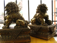 Large A Pair Bronze Chinese Lion Foo Dog Statue Figure Sculpture Height 30 CM 12 inch