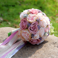 SESTHFAR Wedding Bouquet Bridal Holding Flowers Atificial Silk Rose Bridal Bouquet For Wedding decoration