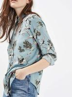 2017ss New Woman Light Blue Cranes Birds Print Shirt Collar Long Sleeves Buttons Up Blouse Top