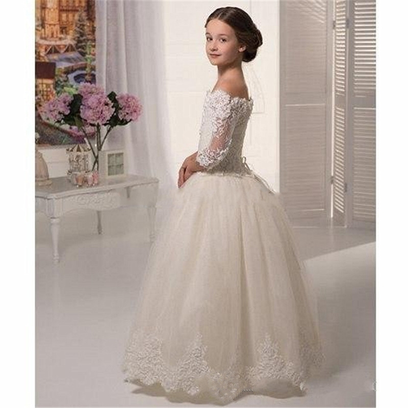 83c27712435 2016 Flower Girl Dresses Three Quarter Appliques Ball Gown Floor-Length  Girls Pageant Dresses First Communion Dresses For Girls